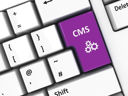 CMS key on the computer keyboard, three-dimensional rendering photo