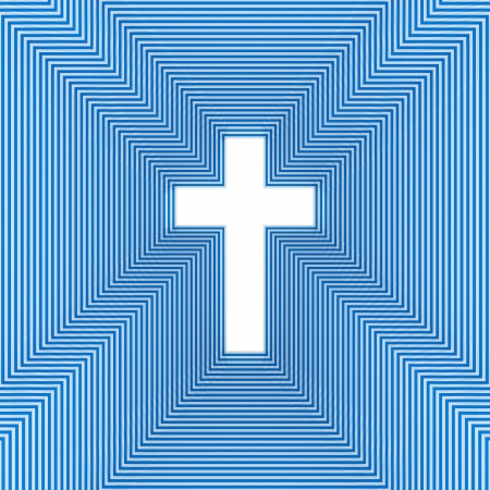 Christian symbol of the crucifix, abstract background, three-dimensional rendering