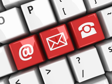 sociable: Tasti di contatto rosse sulla tastiera del computer, il rendering tridimensionale