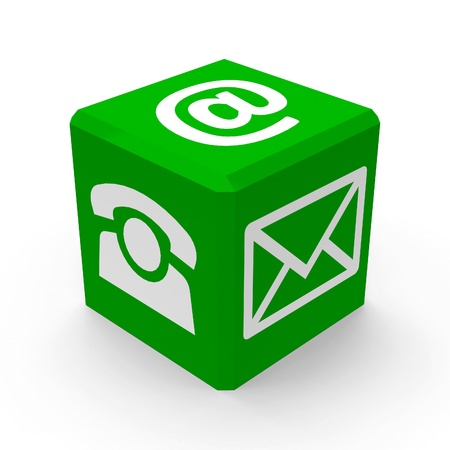 online form: Green web contact buttons is communication, three-dimensional rendering