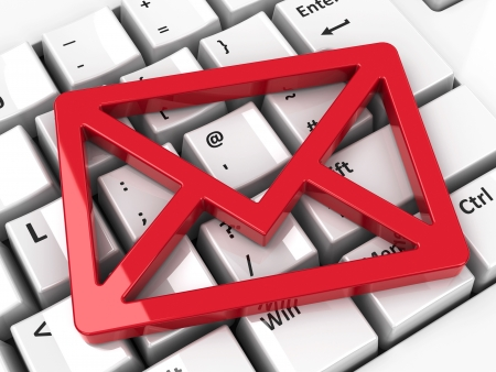 Red mail icon on computer keyboard background, three-dimensional rendering
