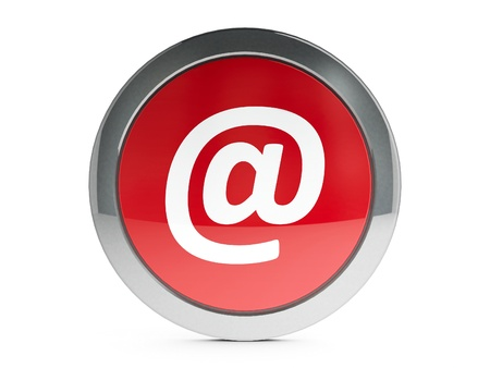 Red e-mail emblem is communication, three-dimensional rendering Stock Photo - 19314753