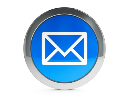 Blue mail emblem is communication, three-dimensional rendering Stock Photo