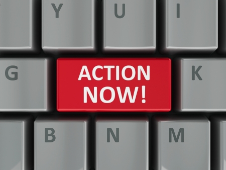 urge: Action now computer key - demand of urgent act  three-dimensional rendering  Stock Photo