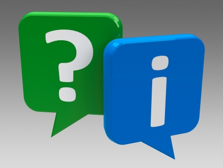 Question and information speech bubble icons, three-dimensional rendering Stock Photo