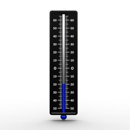 Thermometer indicates low temperature, three-dimensional rendering