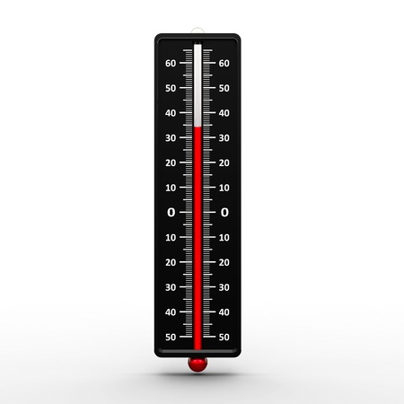 Thermometer indicates high temperature, three-dimensional rendering photo