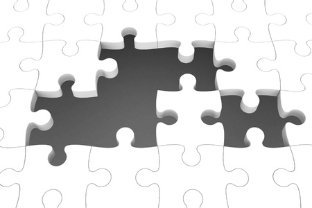White puzzle pieces with gap, three-dimensional rendering photo