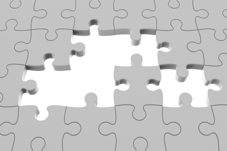 Grey puzzle pieces with gap, three-dimensional rendering photo