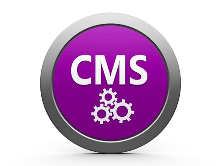 cms: Magenta CMS emblem isolated on white background, three-dimensional rendering Stock Photo