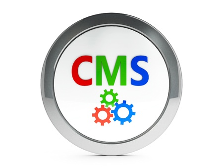 Color CMS emblem isolated on white background, three-dimensional rendering photo