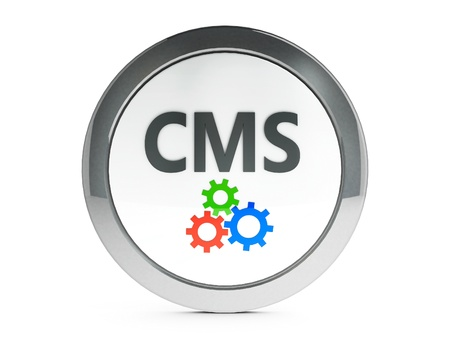 Black CMS emblem isolated on white background, three-dimensional rendering photo