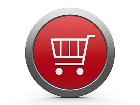 Red shopping cart emblem isolated on white background, three-dimensional rendering