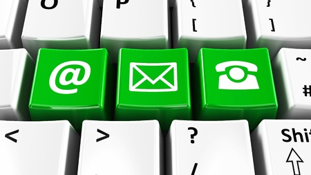 mail marketing: Green contact keys on the computer keyboard, three-dimensional rendering Stock Photo