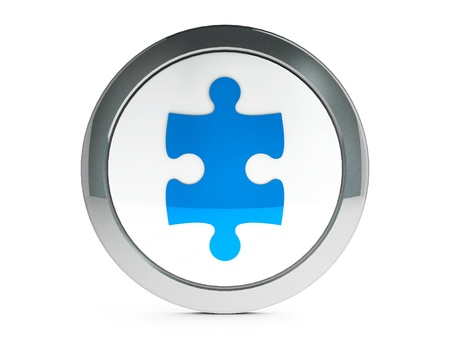 plugin: Blue plugin icon isolated on white background, three-dimensional rendering   Stock Photo