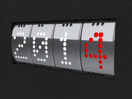 Design component of a counter dial that is showing the year 2014, three-dimensional rendering photo