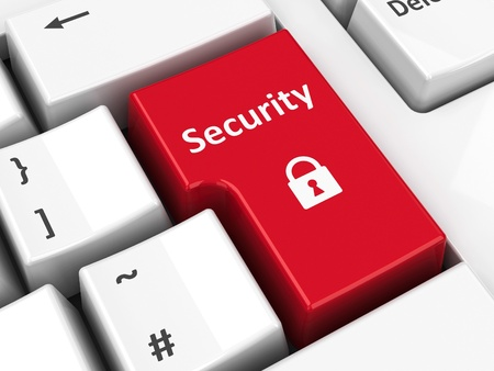 Security key on the computer keyboard, three-dimensional rendering Stock Photo - 21044670