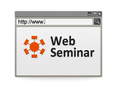 Web seminar with symbol in the internet browser, three-dimensional rendering photo
