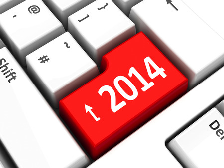 Computer keyboard with 2014 key, three-dimensional rendering Stock Photo