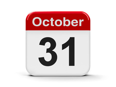Calendar web button - Thirty first of October, three-dimensional rendering photo