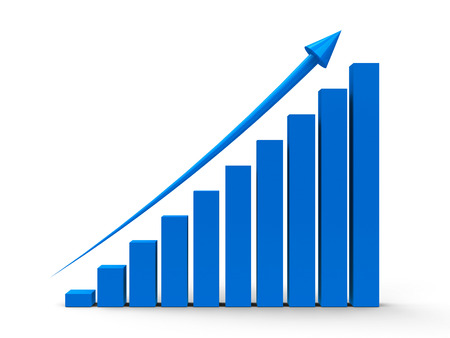 sales graph: Blue business graph with blue arrow up, three-dimensional rendering Stock Photo