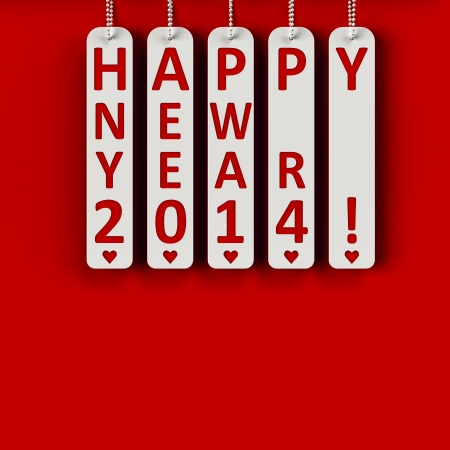 Happy new year 2014 on the metal labels, three-dimensional rendering Stock Photo