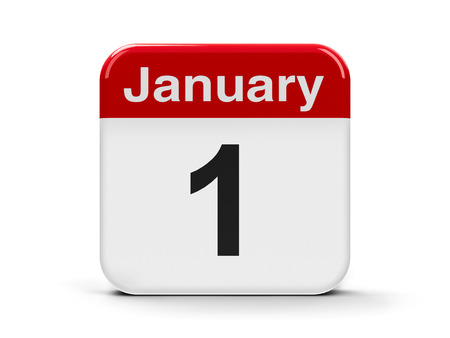 Calendar web button - First of January, three-dimensional rendering