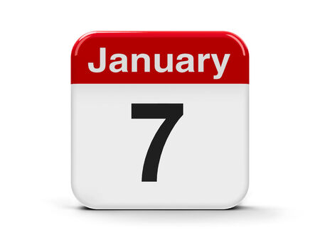 Calendar web button - The Seventh of January, three-dimensional rendering photo