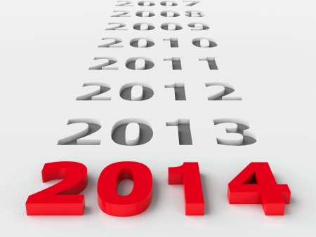 2014 past represents the new year 2014, three-dimensional rendering