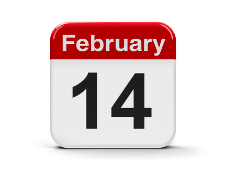 fourteenth: Calendar web button - The fourteenth of February, three-dimensional rendering Stock Photo