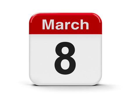 eighth: Calendar web button - Eighth of March, three-dimensional rendering Stock Photo