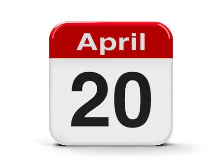twentieth: Calendar web button - Twentieth of April - Easter day, three-dimensional rendering Stock Photo