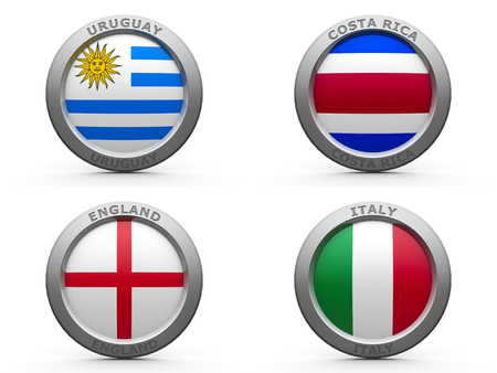 Emblems - Brazil soccer 2014 group D, three-dimensional rendering photo