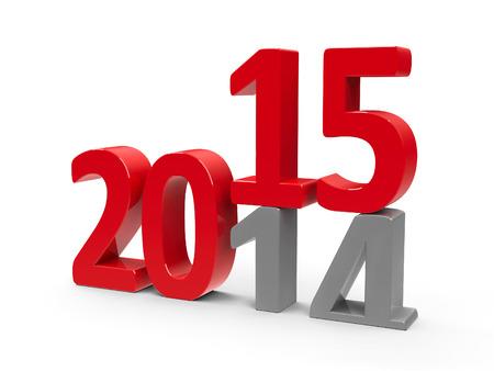 turns of the year: 2014-2015 cambio representa el nuevo a�o 2014, la representaci�n en tres dimensiones