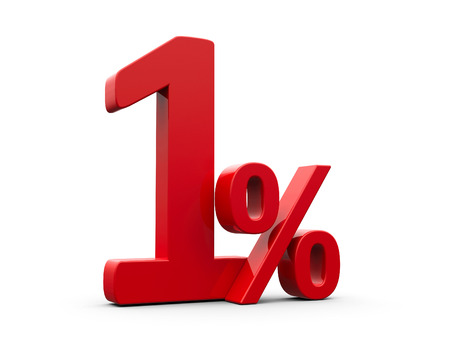percentage sign: Red one percent sign isolated on white background, three-dimensional rendering Stock Photo