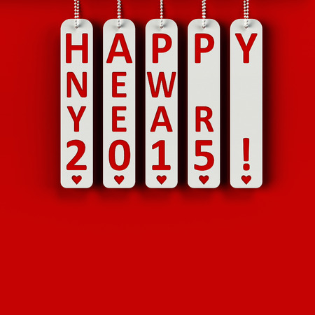 Happy new year 2015 on the metal labels, three-dimensional rendering photo