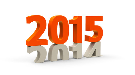 turns of the year: 2014-2015 change represents the new year 2015, three-dimensional rendering