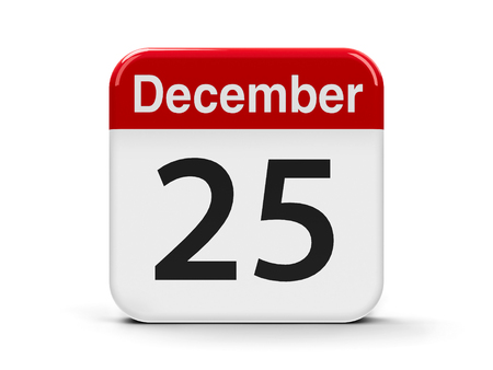 Calendar web button - The Twenty Five of December, three-dimensional rendering photo