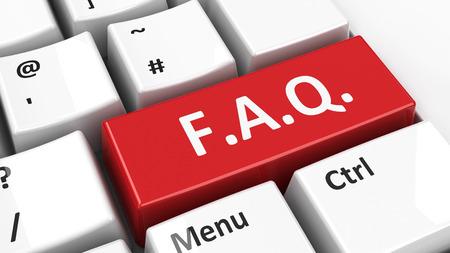 faq: Computer keyboard with FAQ key, three-dimensional rendering Stock Photo