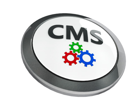 Black CMS emblem isolated on white background, three-dimensional rendering