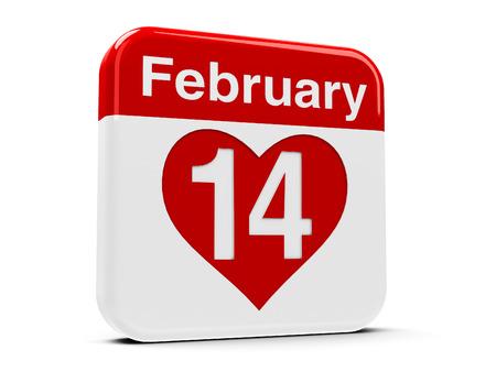 fourteenth: Calendar web button - The fourteenth of February, three-dimensional rendering Stock Photo