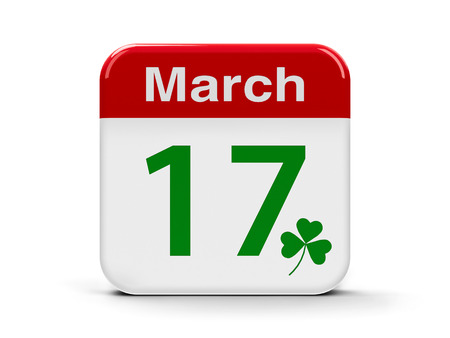 seventeenth: Patricks day - Calendar web button - Seventeenth of March, three-dimensional rendering