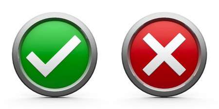 cross process: Web buttons tick & cross isolated on white background, three-dimensional rendering