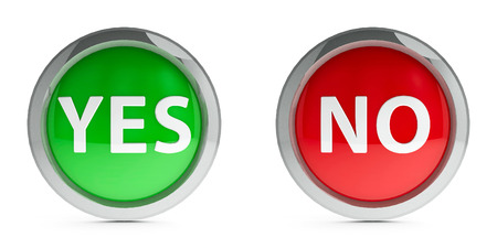 yes no: Web buttons yes & no isolated on white background, three-dimensional rendering Stock Photo