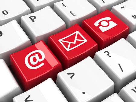Llaves de contacto rojas en el teclado del ordenador, la representación tridimensional Foto de archivo - 36301545