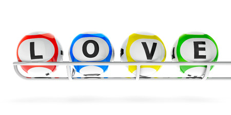 basis: Lottery balls on a metal basis, represented love and valentines day, three-dimensional rendering Stock Photo