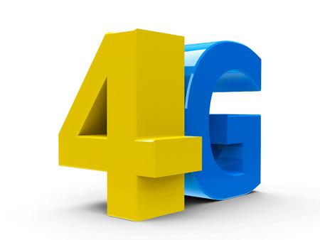 4g: Yellow and blue 4g symbol, icon or button isolated on white background, three-dimensional rendering