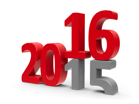 turns of the year: 2015-2016 cambio representa el nuevo a�o 2016, la representaci�n tridimensional Foto de archivo