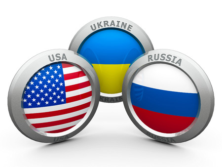 separatist: Emblems USA, Ukraine and Russia are represented confrontation between USA and Russia, three-dimensional rendering
