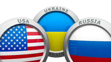 confrontation: Emblems USA, Ukraine and Russia are represented confrontation between USA and Russia, three-dimensional rendering